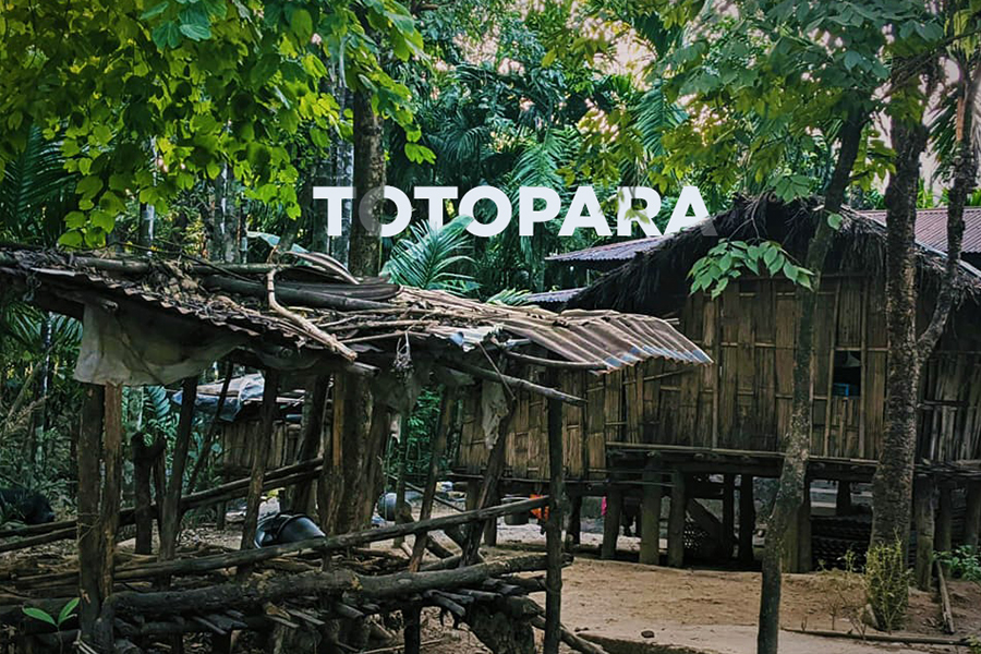 Traditional Toto huts in Totopara
