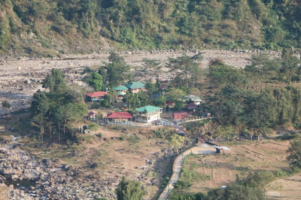 Hill top view of Green Island Resort jhalong, it is a riverside resorts